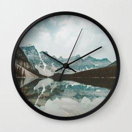 Moraine Lake Mountain Reflection Summer Wall Clock