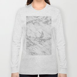 Elegant chic white gray silver glitter marble Long Sleeve T-shirt