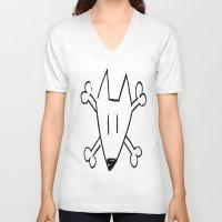 bull terrier V-neck T-shirts featuring Bull Terrier Skull by Chiaris
