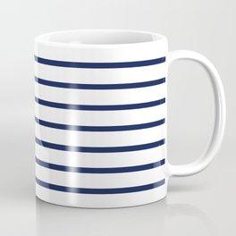 Horizontal Navy Blue Stripes Pattern Coffee Mug