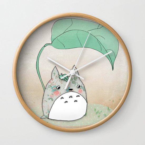 Floral Totoro Wall Clock