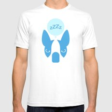 Boston Terrier Thoughts: Sleep. White SMALL Mens Fitted Tee