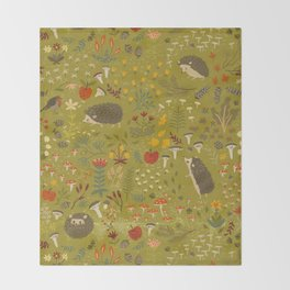 Hedgehog Meadow Throw Blanket