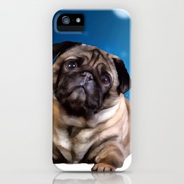 A Pug for Christmas. (Painting) iPhone Case