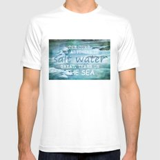 The cure for anything is salt water, sweat, tears, or the sea.    Dinesen, Isak MEDIUM White Mens Fitted Tee