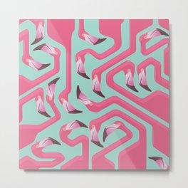 Flamingo Maze on beach glass background. Metal Print