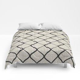 Black Bege Modern Lines Pattern Comforters