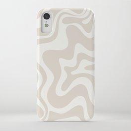 Liquid Swirl Contemporary Abstract Pattern in Mushroom Cream iPhone Case