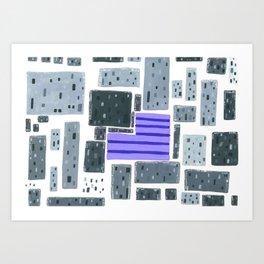 Derelict City, Lavender Field Art Print