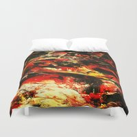 camp Duvet Covers featuring Camp Fire by James Peart