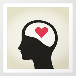 Heart in a head Art Print