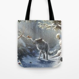 Friends: Wolf & Squirrel in Winter Tote Bag
