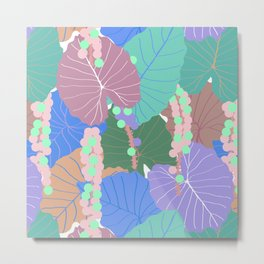 Elephant Ear Leaves + Sea Grapes in Muted Pastel Metal Print