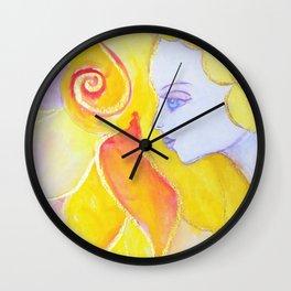 Lady Autumn Watercolor Art Nouveau Gold Wall Clock