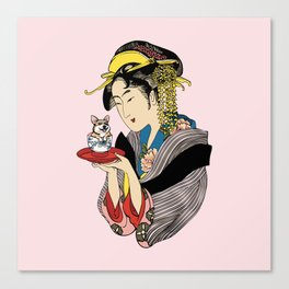 Tea Time with Corgi Canvas Print