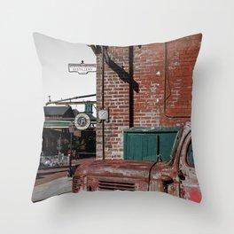 Retro urban neighborhood and a vintage truck Throw Pillow