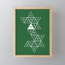 Green Unrolled D20 Framed Mini Art Print