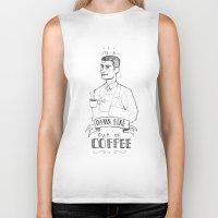 dale cooper Biker Tanks featuring DALE COOPER - A FINE CUP OF COFFEE by Adrianna Ojrzanowska