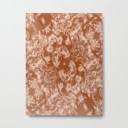 Beige and White Vintage Floral Fashion Metal Print