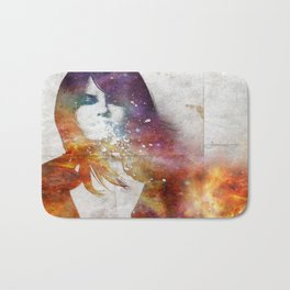 Girl spitting into space. Bath Mat