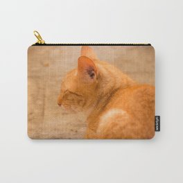 Orange Cat Is Resting On The Terrace  #decor #society6 #homedecor Carry-All Pouch