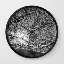 Raindrop Covered Spiderweb Wall Clock
