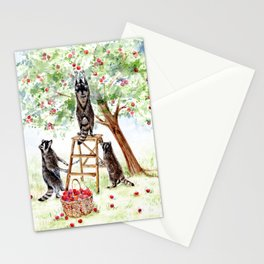 Cute Raccoons in the Orchard Stationery Cards