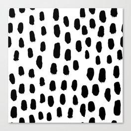 Spots black and white minimal dots pattern basic nursery home decor patterns Canvas Print