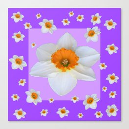ULTRA VIOLET  WHITE DAFFODILS GARDEN ART Canvas Print