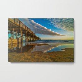 Sunset Cloud Reflections at Newport Pier Metal Print