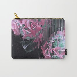 Glitch Pink Hydrangea Carry-All Pouch