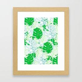 Banana Leaf in Teal Framed Art Print