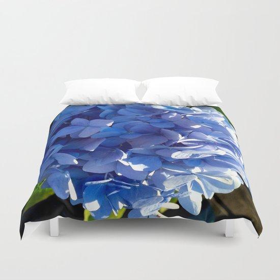 Blue Hydrangia Flower Blossom Duvet Cover