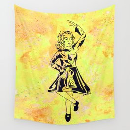 Imbolc  (traditional Irish step dancer celebrating Brigid and the festival of light) Wall Tapestry