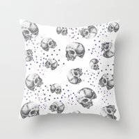 skulls Throw Pillows featuring SKULLS by Vickn