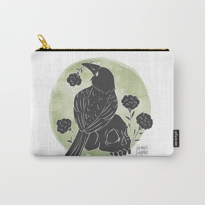 Crow and Skull Carry-All Pouch