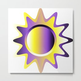 Nonbinary Pride Glossy Sun Design Metal Print