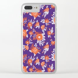 University football fan alumni clemson orange and purple floral flowers gifts Clear iPhone Case