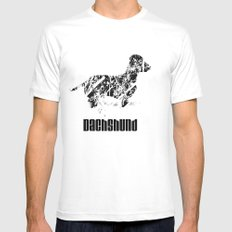Dachshund in the snow White MEDIUM Mens Fitted Tee