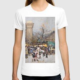 Paris Porte Saint-Denis, Paris, France by Eugene Lalien Laloue T-shirt