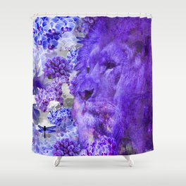 LION AND ORCHIDS  PURPLE AND BLUE FANTASY DREAM Shower Curtain