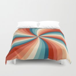Colorful retro style sun rays Duvet Cover