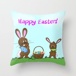 Happy Easter With Bunnies And Easter Basket Throw Pillow