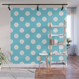 Sky blue (Crayola) - heavenly - White Polka Dots - Pois Pattern Wall Mural