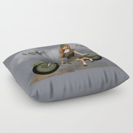 Spitfire Pin Up Art Floor Pillow