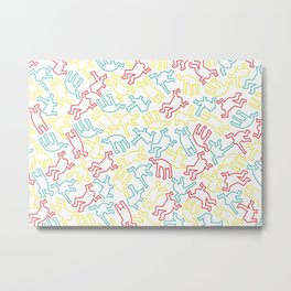 Contemporary Street Art Keith Haring Pattern Figures Color #1W Metal Print