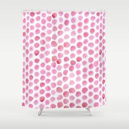 Pink Polka Dot Watercolour Shower Curtain