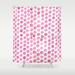 Pink Polka Dot Watercolour Shower Curtain