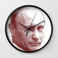 putin Wall Clocks featuring Putin by MartiniWithATwist