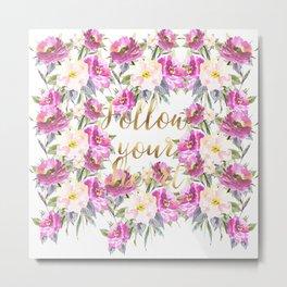 Pink Roses Floral Metal Print